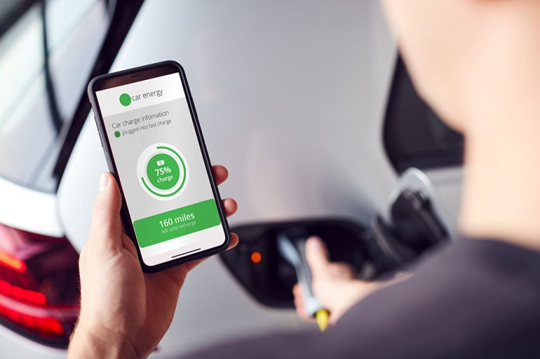 checking electric vehicle charge via smartphone